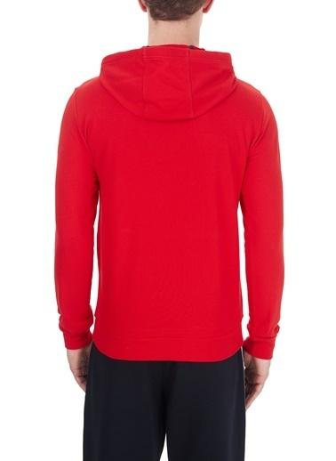 EA7 Emporio Armani  Baskılı Kapüşonlu Kanguru Cepli % 100 Pamuk Sweat Erkek Sweat 6Hpm78 Pj05Z 1451 Kırmızı